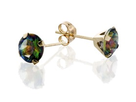 14K Gold Genuine Mystic Topaz Studs- Pick Color
