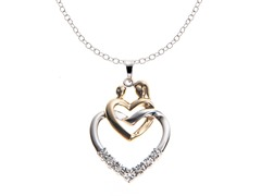 SS Two Tone Mother/Child Diamond Heart Pendant