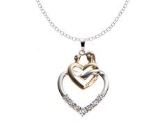 SS Two Tone Mother/Child Diamond Heart Pendant