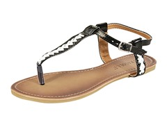 Lalo Thong Sandal. Black and White