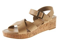 Carrini Criss-Cross Wedge Sandal, Natural