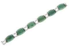 Sterling Silver, Carved Jade Dragon Bracelet