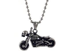 Oxidized SS Skeleton Motorcycle Pendant