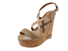 Carrini Strappy Braided Wedge Sandal, Beige