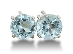 2ct Blue Topaz Earrings In Sterling Silver