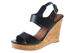 Carrini Double Strapped Wedge Sandal, Black/Black
