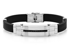 Black Rubber Bracelet w/ Simulated Diamonds