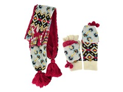 MUK LUKS® Knit Scarf Fur Lined Gloves, Red/Wht