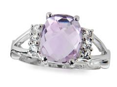 SS, Pink Amethyst & White Topaz Ring