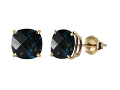 10K YG Stud Earrings, London Blue Topaz