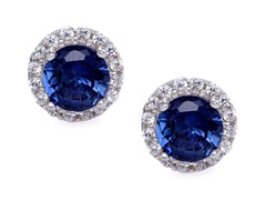 SS Blue CZ Halo Stud Earrings