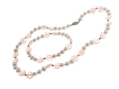 SS & Pearl Necklace & Bracelet Set