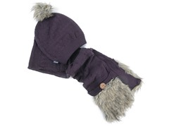 Muk Luks Pom Beanie w/ Pocket Scarf, Purple