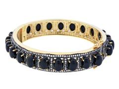 18K Gold-Plated SS Sideway Black Onyx Semi-Precious Gemstone Bangle