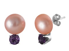 Freshwater Rose Pearl & Amethyst Earrings