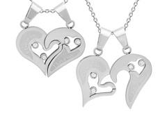 """I Love You"" Pendant w/ Sim. Diamonds"