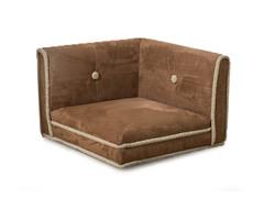 Corner Nook Shearling Pet Bed - Chestnut