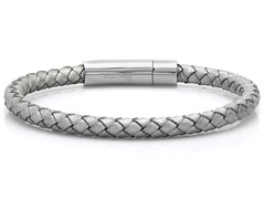 Braided Leather Bracelet, Metallic