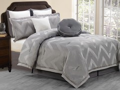 Behrakis 8Pc Comforter Set-Grey- Queen