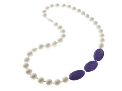 Beaded Teether Necklace White/Navy