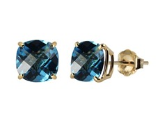 10K YG Stud Earrings, Swiss Blue Topaz