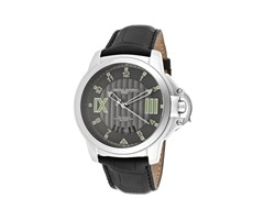 Gunmetal Dial Black Leather Watch