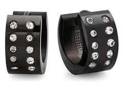 SS Black IP Huggie Earrings w/ CZ