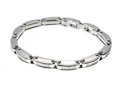 Polished Stainless Steel CZ Triple Link Bracelet