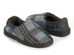 Tom Plaid Full Foot Slipper, Blue