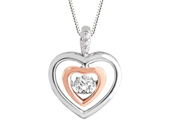 "ZKS Designs ""Dancing"" Diamond Double Heart Pendant"