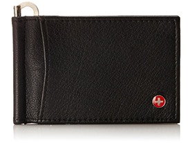 RFID Protected Alpine Swiss Deluxe Money Clip Front Pocket Wallet Spring Clip Black