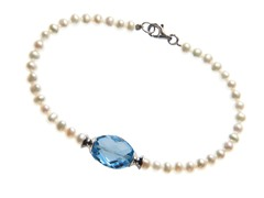 Pearl Bracelet with Blue Topaz Bead