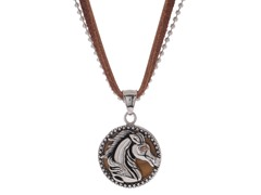 Stainless Steel & Genuine Tiger Eye Horse Pendant