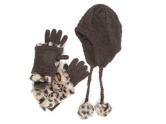 MUK LUKS® Pom Helmet Hat Glove Set,Brown