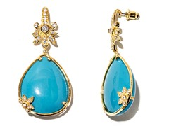 18kt Plated Synthetic Turquoise Earrings