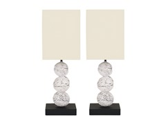 Mini 3 Round Wood Table Lamps - Set of 2