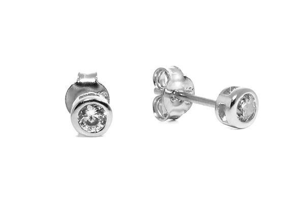 Solid Sterling Silver Round Bezel Stud Earrings AC192227A