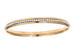 18kt Rose Plated Sim. Diamond Eternity Bangle
