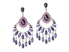 Rhodium-Plated TearDrop Purple Mix Dangling Earrings
