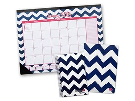 Chevron 2015 Desk Calendar, Planner, Notebook Set