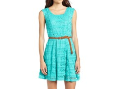 Trixxi Juniors Skater Lace Dress, Seafoam