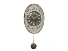 Antique White Oval Mini Pendulum Clock