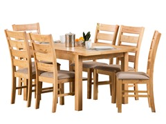 Lowell 7-Pc Oak Finish Dining Set