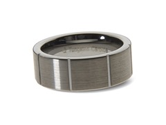 Tungsten Vertical Lines Ring
