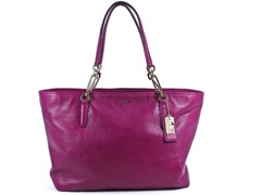 Madison East/West Leather Tote, Cranberry