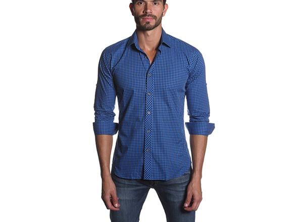 Men 39 s button down shirt blue gingham fashion for Blue gingham button down shirt