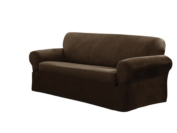 faux suede one piece slipcover loveseat