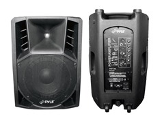 "12"" Powered 2-Way Plastic Molded PA Speaker w/ Wheels"