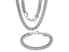 Stainless Steel Curb Bracelet & Necklace