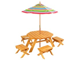 Octagon Table & 4 Stools w/ Umbrella